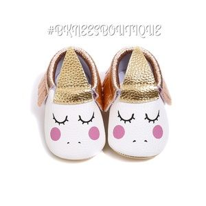 Babygirl Rose Gold Unicorn Party Walker Shoes
